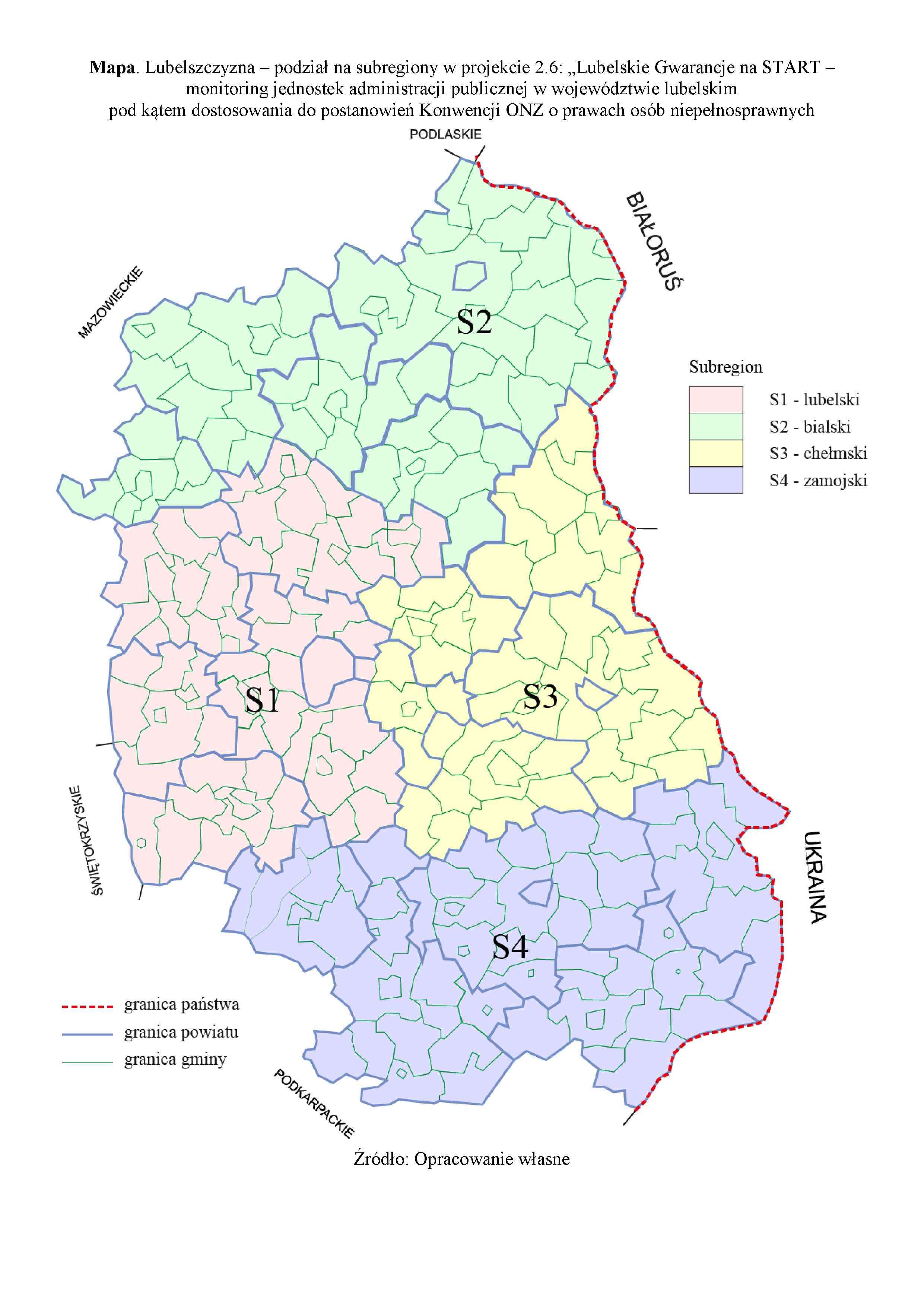 Podzial na 4 subregiony instytucje wylosowane do monitoringu